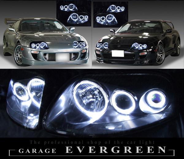 トヨタ JZA80 スープラ 後期 車種別専用 純正ドレスアップヘッドライト 超高輝度6連白色LEDイカリング&インナーブラッククロム