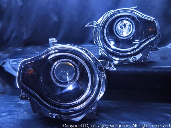 スズキ MR31S/MR41S ハスラー 純正HID車用 純正ドレスアップヘッドライト LEDイカリング&純正ポジション部白/橙LED切換え加工&インナーブラッククロム
