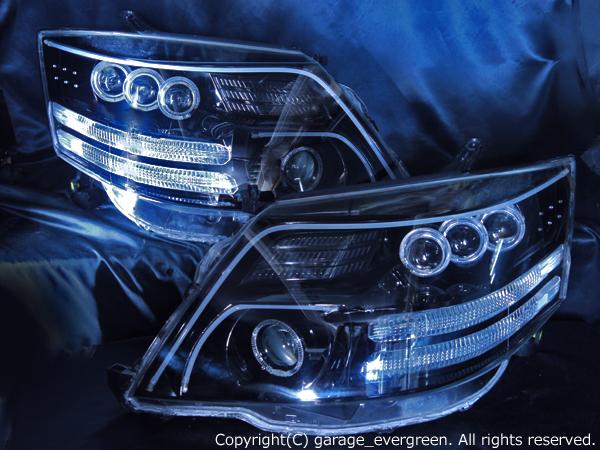 トヨタ 10系アルファード後期 AS/MS/MZ用 純正HID車用 純正ドレスアップヘッドライト 8連LEDイカリング&8連プロジェクター&高輝度白色LED24発増設&高輝度橙色LED16発増設&LEDアクリルイルミファイバー&インナーブラッククロム