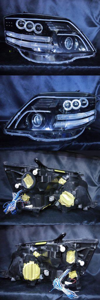 トヨタ 10系アルファード後期 AS/MS/MZ用 純正HID車用 純正ドレスアップヘッドライト8連LEDイカリング&8連プロジェクター&高輝度白色LED24発増設&高輝度橙色LED16発増設&LEDアクリルイルミファイバー&インナーブラッククロム