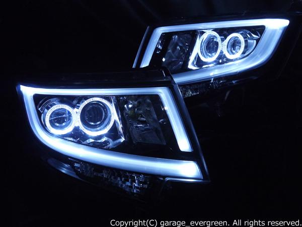 ダイハツ LA150S/LA160S ムーヴカスタム 純正LEDロービーム車用 純正ドレスアップヘッドライト 4連LEDイカリング&純正ポジションLED色替え