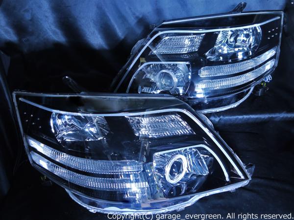 トヨタ 10系 アルファード後期 AX/MX用 純正ドレスアップヘッドライト バイキセノンプロジェクターインストール&超高輝度白色LED24発増設&超高輝度橙色LED16発増設&アクリルLEDイルミファイバー&インナーブラッククロム