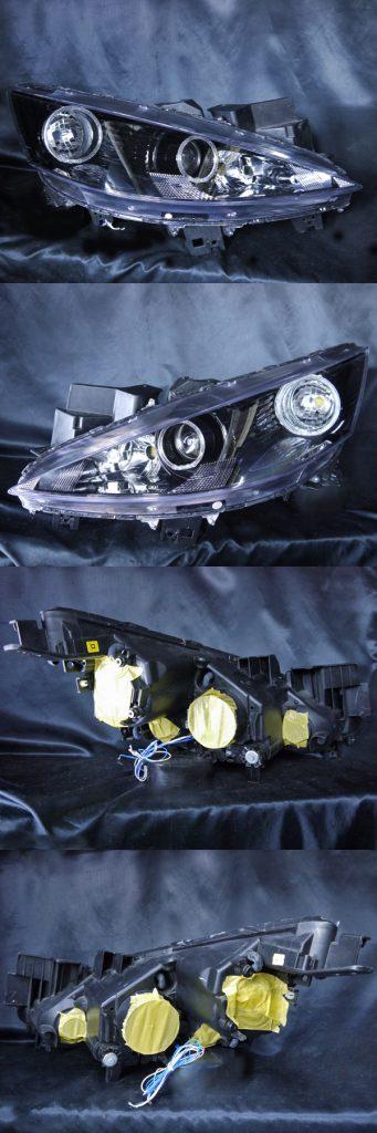 マツダ CC3FW/CCEAW/CCEFW/CCFFW ビアンテ 純正HID車用 純正ドレスアップヘッドライト 4連LEDイカリング&インナーブラッククロム