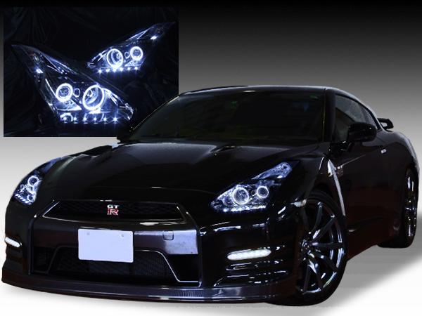 日産 R35 GT-R 前期/中期 純正HID用 純正ドレスアップヘッドライト 4連LEDイカリング&高輝度白日産 R35 GT-R 前期/中期 純正HID用 純正ドレスアップヘッドライト 4連LEDイカリング&高輝度白色LED22発増設色LED22発増設