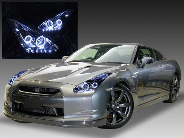 日産 R35 GT-R 前期/中期 純正HID用 純正ドレスアップヘッドライト 4連LEDイカリング&高輝度白色LED22発増設