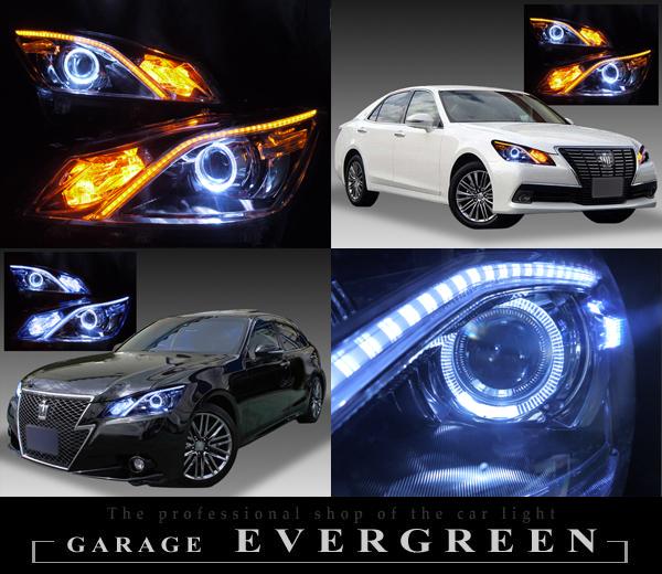 トヨタ 210系クラウン 前期 純正HID車用・AFS有り 純正ドレスアップヘッドライト 超高輝度白色LEDイカリング&ラインポジション白/橙LED色替え&ウィンカー内部白LED増設