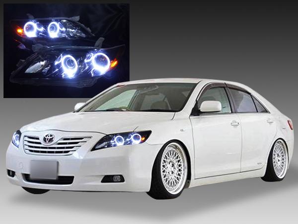 トヨタ ACV40カムリ 前期 純正HID車用 純正ドレスアップヘッドライト 4連LEDイカリング&US風サイドマーカー高輝度橙色LED増設&インナーブラッククロム