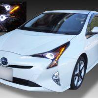 トヨタ ZVW50系 プリウス 純正LED車用 純正ドレスアップヘッドライト 2連LEDイカリング&高輝度橙色LED16発増設