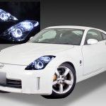 日産 Z33 フェアレディZ後期 純正HID車用 純正ドレスアップヘッドライト 2連LEDイカリング&純正LEDサイドマーカー部白/橙LED色替え加工&高輝度白色LED12発増設