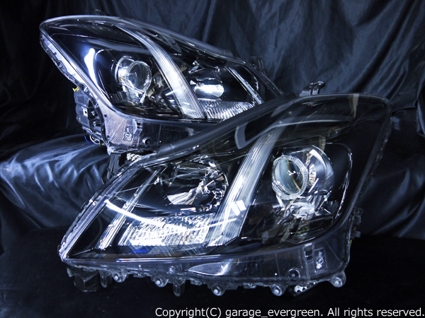 トヨタ 200系 クラウン アスリート 前期/後期 純正HID車用 純正ドレスアップヘッドライト 白色LEDイカリング&超高輝度白色LED20発増設&インナーブラッククロム