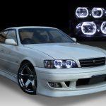 トヨタ JZX100系チェイサー ツアラーV/S 純正HID車用 純正ドレスアップヘッドライト 4連高輝度白色LEDイカリング