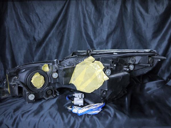 レクサス GRS/URS/GWS 19系 GS 前期/後期 全グレード用 純正HID車用 ドレスアップヘッドライト 4連LEDイカリング&高輝度白色LED24発増設&高輝度橙色LED12発増設&インナーブラッククロム