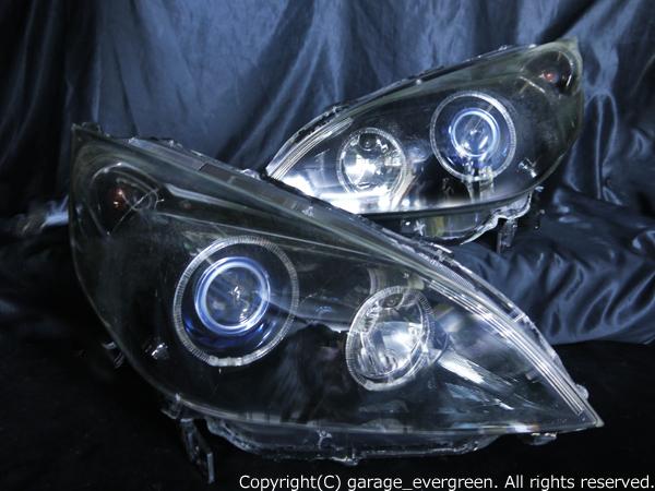 ホンダ RG系 ステップワゴン 前期/後期 純正HID車用 純正ドレスアップヘッドライト 4連LEDイカリング&超高輝度白色LED14発増設&インナーブラッククロム