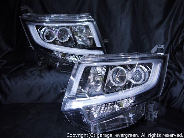 ダイハツ LA150S/LA160S ムーヴカスタム 前期 純正LEDロービーム車用 純正ドレスアップヘッドライト 4連LEDイカリング&純正ポジションLED色替え