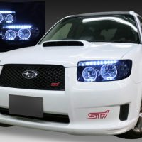 スバル SG系 フォレスター後期 純正HID車用 純正ドレスアップヘッドライト 4連LEDイカリング&高輝度白色LED18発増設