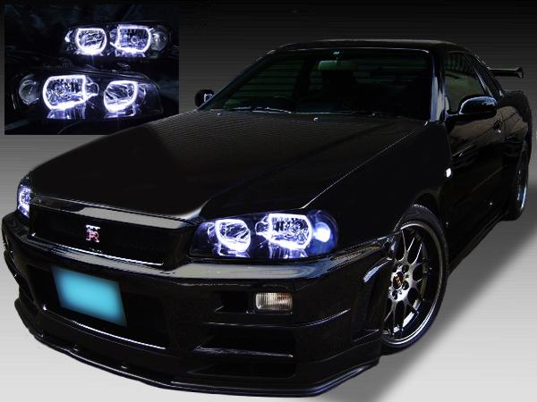 日産 R34系 スカイライン(クーペ・セダン)前期 GT-R 前期 純正HID車用 純正ドレスアップヘッドライト 4連スクエアLEDイカリング&インナーブラッククロム日産 R34系 スカイライン(クーペ・セダン)前期 GT-R 前期 純正HID車用 純正ドレスアップヘッドライト 4連スクエアLEDイカリング&インナーブラッククロム