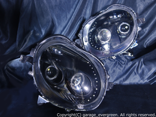 ダイハツ L880K コペン 純正HID車用 純正ドレスアップヘッドライト 4連LEDイカリング&高輝度白色LED24発増設&高輝度橙色LED22発増設&インナーブラッククロム