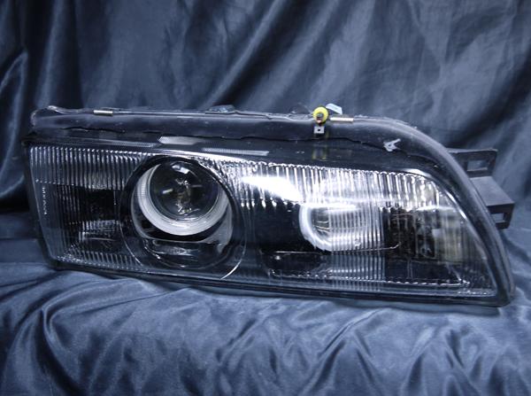 R32 スカイライン/GT-R 前期/後期 純正ドレスアップヘッドライト 4連CCFLイカリング&バイキセノンプロジェクターダブルインストール&インナーブラッククロム