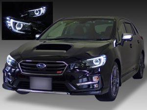 スバル VM4/VMG レヴォーグ 前期 純正LEDロービーム車用 純正ドレスアップヘッドライト 2連LEDイカリング&高輝度白色LED16発増設&純正ポジション部色替え&インナーブラッククロム