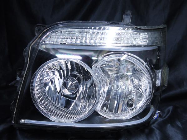 ダイハツ S320G/S330G系 アトレーワゴン前期/後期 純正HID車用 レべライザー無 純正ドレスアップヘッドライト 4連LEDイカリング&LEDアクリルイルミファイバー&ウインカークリア加工