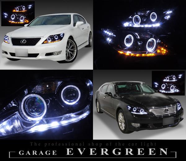 レクサス LS460 中期 純正HID車 AFS有り車用 プリクラッシュ無し車または前方のみプリクラッシュ搭載車用 純正ドレスアップヘッドライト 4連LEDイカリング&インナー・サイドマーカーブラッククロム&高輝度白色LED26発増設&高輝度橙色LED16発増設