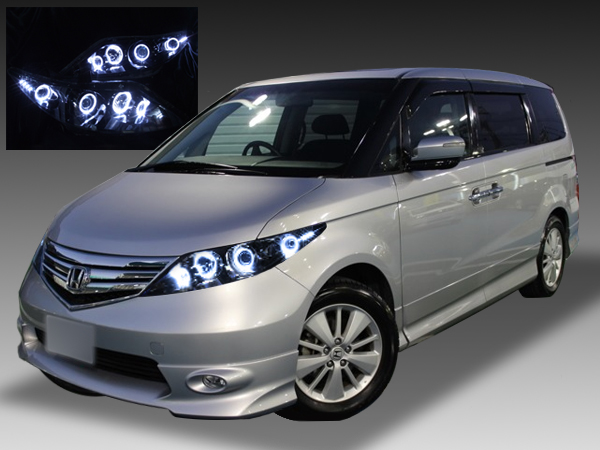 ホンダ RR系 エリシオン 後期 純正HID用 AFS無し車用 純正ドレスアップヘッドライト 8連LEDイカリング&高輝度白色LED8発増設増設