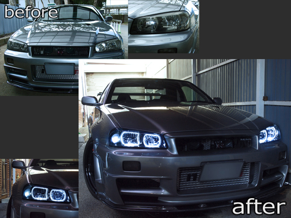 日産 R34系 GT-R/スカイライン 前期 純正HID車用 純正ドレスアップヘッドライト 4連白色LEDスクエアイカリング