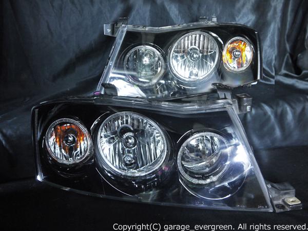 日産 Y34グロリア後期 純正HID車用 純正ドレスアップヘッドライト 6連LEDイカリング&インナーブラッククロム