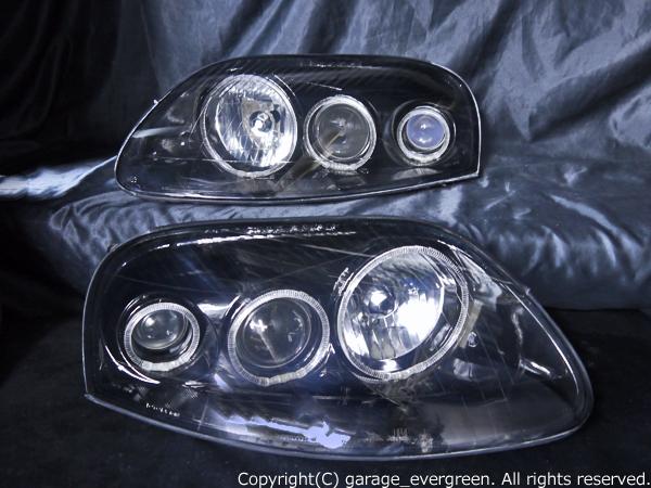 トヨタ JZA80 スープラ 後期 純正ドレスアップヘッドライト 超高輝度6連白色LEDイカリング&インナーブラッククロム
