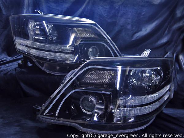 トヨタ 10系 アルファード後期 AS/MS/MZ用 HID車用  純正ドレスアップヘッドライト 2連LEDイカリング&超高輝度白色LED24発増設&超高輝度橙色LED16発増設&WアクリルLEDイルミファイバー&インナーブラッククロム