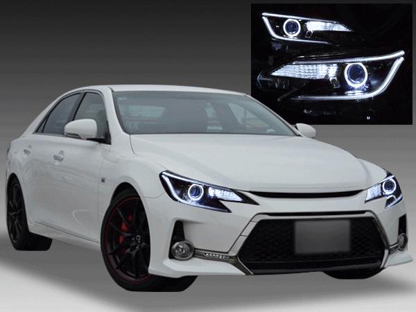 トヨタ 130系 マークX 中期 純正HID車用 純正ドレスアップヘッドライト 白色LEDイカリング&高輝度白色LED12発増設&純正ラインポジション部白LED色替え加工&インナーブラッククロム
