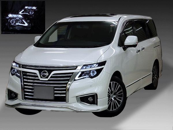 日産 E52系 エルグランド後期 純正LED車用 純正ドレスアップヘッドライト LEDイカリング&純正LEDポジション部 色替え&高輝度白色LED12発増設&インナーブラッククロム