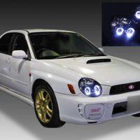 スバル GD/GG系 インプレッサ 前期 A型・B型(丸目型)HID車用 純正ドレスアップヘッドライト 4連LEDイカリング&インナーブラッククロム