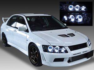 三菱 CT9A ランサーエボリューションⅦ・Ⅷ・Ⅸ/CT9W ランサーエボリューションワゴン 純正HID車用 純正ドレスアップヘッドライト 高輝度白色6連LEDイカリング&インナーブラッククロム&ウィンカークリア