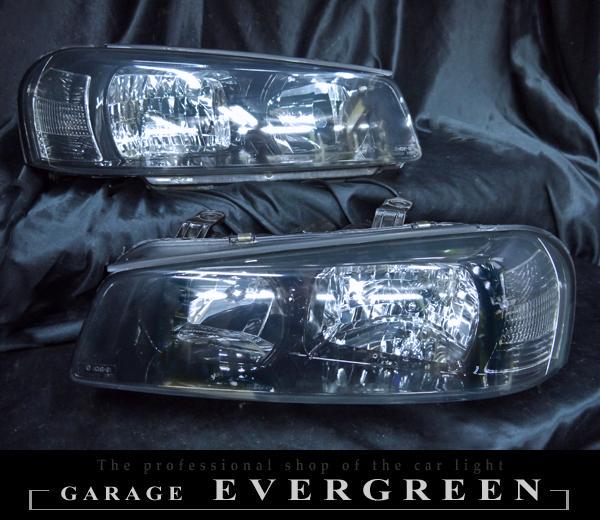 日産 R34系 スカイライン 前期/後期 純正ハロゲン車用 純正ドレスアップヘッドライト インナー塗装 ブラッククロム