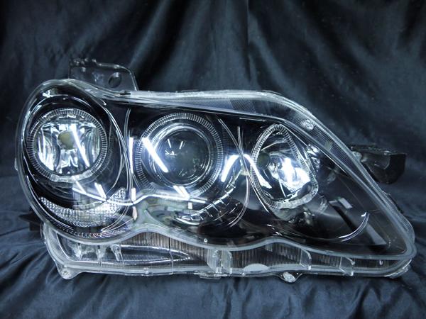 トヨタ 120系 マークX 後期 純正HID車用 AFS無し車用 純正ドレスアップヘッドライト 6連LEDイカリング&インナーブラッククロム