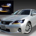 レクサス CT200h 前期 純正LED車用 純正ドレスアップヘッドライト 4連LEDイカリング&純正LEDポジション部LED打ち替え シーケンシャルウインカー加工済み