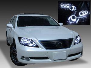 レクサス LS600h/LS600hL 前期 (プリクラッシュ無し車または前方のみプリクラッシュ有り車用)純正ドレスアップヘッドライト 8連高輝度白色LEDイカリング&純正ポジションLED色替え&インナーブラッククロム