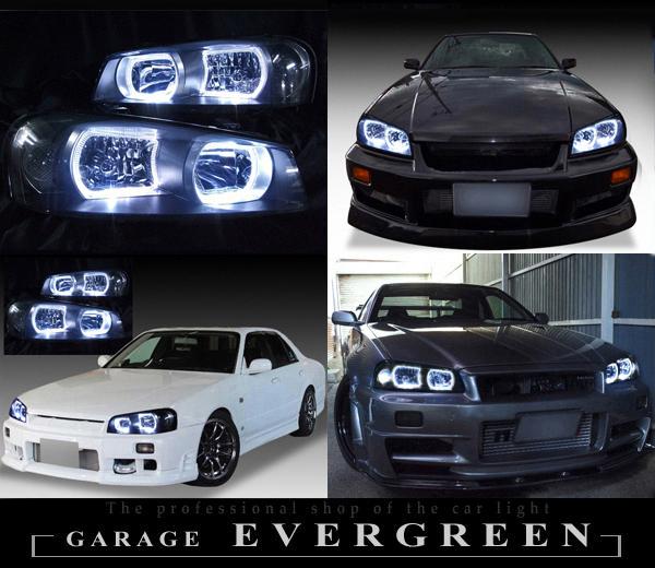日産 R34系 GT-R/スカイライン 前期  純正ドレスアップヘッドライト 純正HID・レべライザー有 車用 4連白色LEDスクエアイカリング日産 R34系 GT-R/スカイライン 前期  純正ドレスアップヘッドライト 純正HID・レべライザー有 車用 4連白色LEDスクエアイカリング