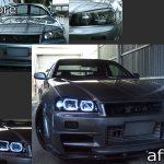 日産 R34系 GT-R/スカイライン 前期 純正ドレスアップヘッドライト 純正HID・レべライザー有 車用 4連白色LEDスクエアイカリング