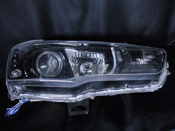 三菱 CZ4A ランサーエボリューションⅩ 純正HID車用 車種別専用 純正ドレスアップヘッドライト 2連LEDイカリング&高輝度白色LED16発増設&LEDアクリルイルミファイバー&インナーブラッククロム