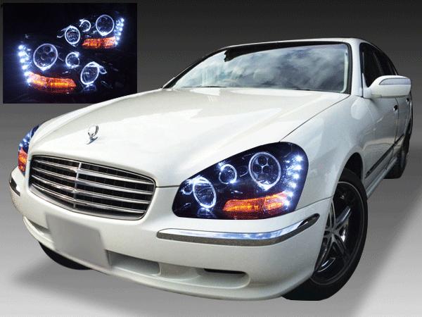 50系シーマ 4500cc 前期 純正HID車用 純正ドレスアップヘッドライト 6連LEDイカリング&高輝度白色LED24発増設&高輝度橙色LED14発増設&インナーブラッククロム