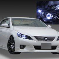 トヨタ 130系 マークX 前期 純正ドレスアップヘッドライト 純正HID・AFS無・レべライザー有 車用 2連LEDイカリング&高輝度白色LED12発増設&インナーブラッククロム