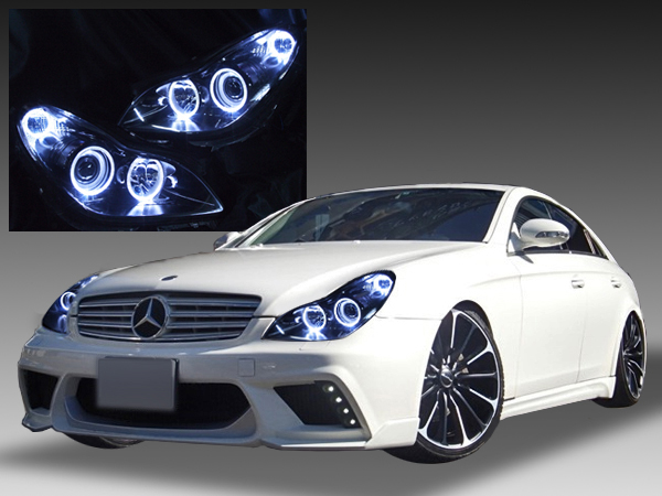 W219 CLS350/CLS500/CLS550 純正日本ディーラー車取外し品 純正ドレスアップヘッドライト 6連LEDイカリング&インナーブラック塗装