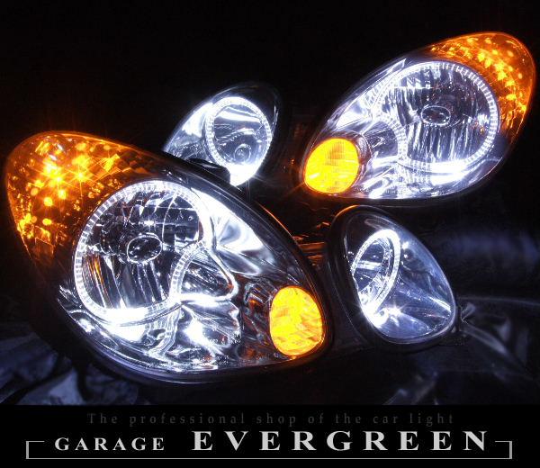 16系 アリスト オーダー加工 ドレスアップヘッドライト LEDイカリング&橙LED増設 仕様