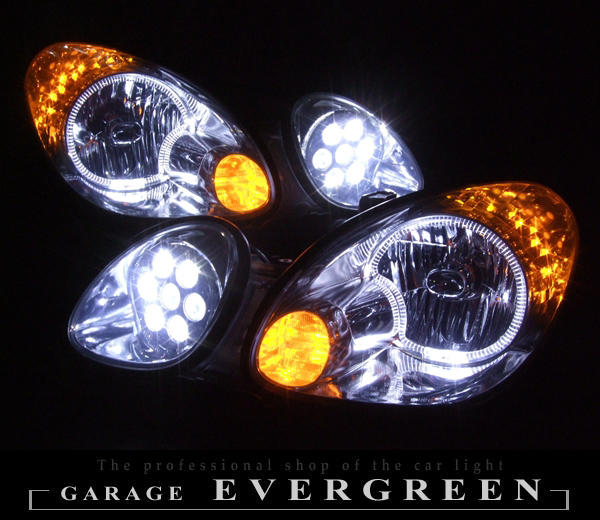 16系 アリスト オーダー加工 ドレスアップヘッドライト バルカン移植&LEDイカリング&橙LED増設 仕様