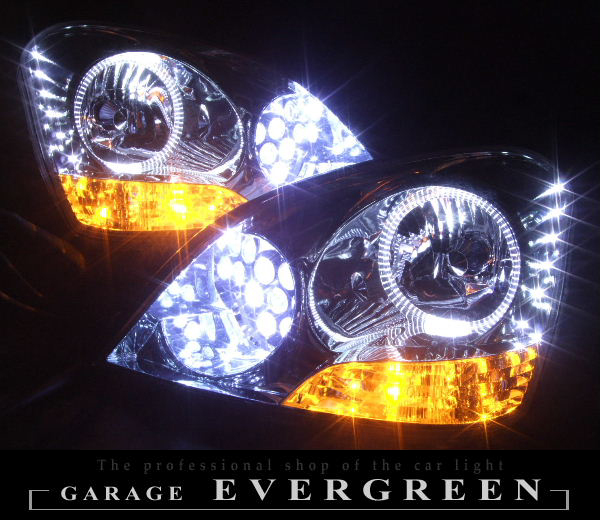 オーダー加工 30 セルシオ  前期 ドレスアップヘッドライト LEDイカリング&バルカンプロジェクター&白橙LED増設 仕様