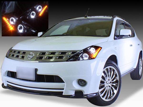Z50系 ムラーノ 純正ドレスアップヘッドライト LEDイカリング&橙白LED増設&インナーブラック塗装