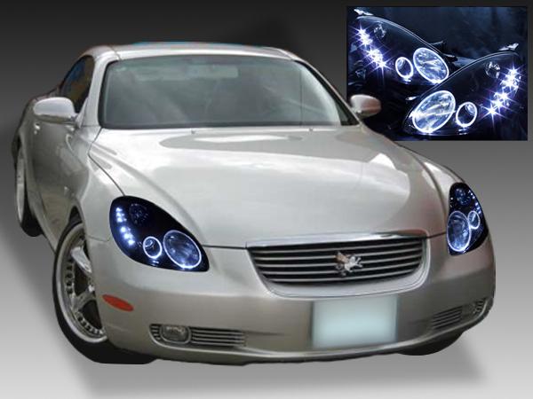UZZ40 ソアラ 純正ドレスアップヘッドライト LEDイカリング&白LED増設&インナーブラック塗装