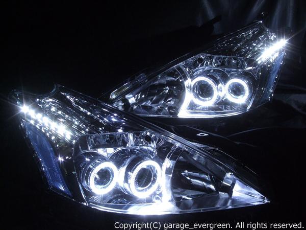 40系 プリウスα 前期 純正LED車 LEDイカリング&白LED増設 仕様 ドレスアップヘッドライト